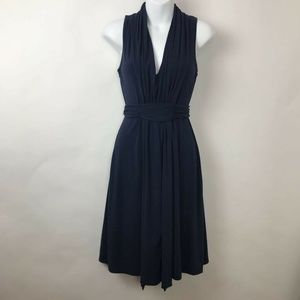 Splendid A Line Dress Navy Blue Ruched Tie Sz XS